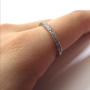 Silver pavé diamond band