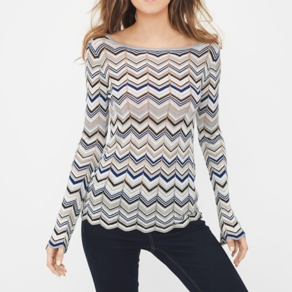 6261bdb882 WHBM KNIT TUNIC CHEVRON STRIPED TOP