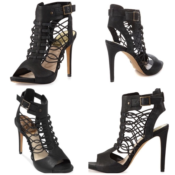 be25993e90e NEW Vince Camino Fossel Black Open Toe Caged Heels.  M 58451398f739bc9d1a021caf