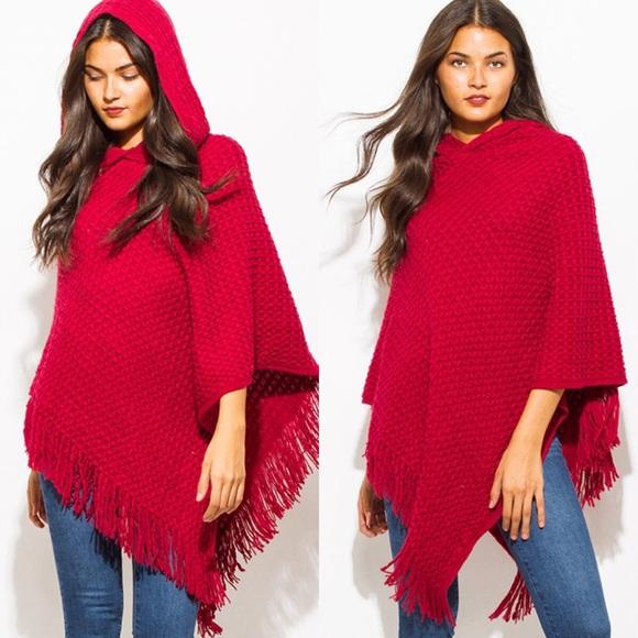 d5569aaf9 Red Basket Weave Hooded Fringe Trim Sweater Poncho Boutique