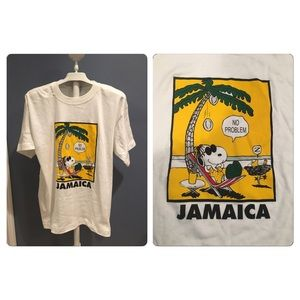 """VTG  SNOOPY """"NO PROBLEM"""" Jamaica Tourist Tee"""