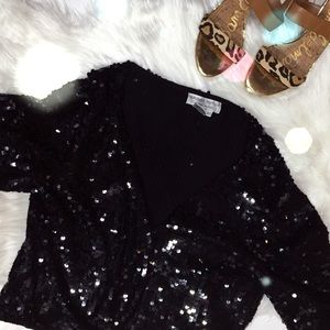 Adrianna Papell Tops - Adrianna Papell Silk Sequin Cardigan Black NYE