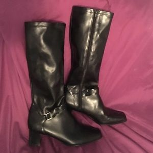 "Life Stride Shoes - NWOT    2"" HEEL BLACK FAUX LEATHER ""RIDING"" BOOTS."