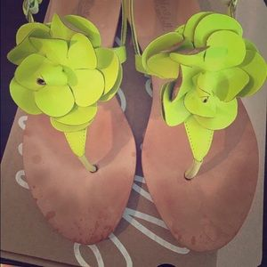 Loeffler Randall neon yellow flower sandals
