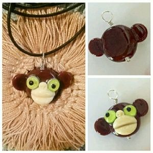 Roxann Slate Jewelry - 🐵 Monkey Handmade Glass Pendant Necklace 🐒