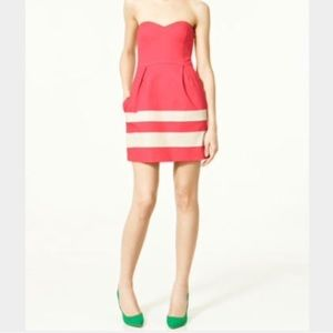 Zara Dresses & Skirts - Zara strapless sweetheart striped dress s