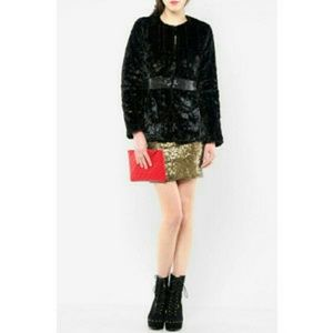 Charlotte Ronson Jackets & Blazers - Charlotte Ronson faux fur jacket with sequin trim