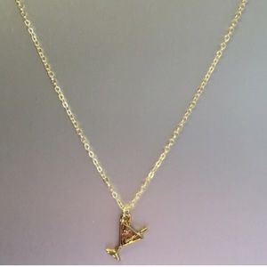 Gold Martini Charm Necklace