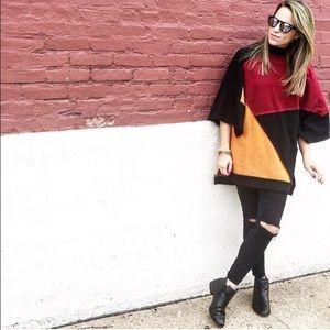 makemechic Sweaters - Color Block Poncho XS Brand New
