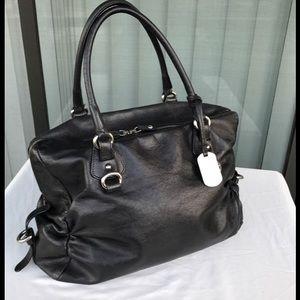 Furla Handbags - FURLA texture leather black satchel large bag
