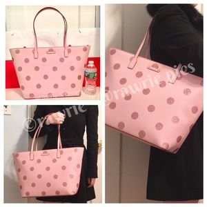 SALE New Kate Spade glitter polka dot large tote