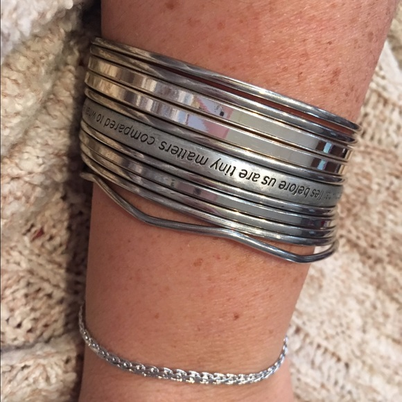 Jewelry - Silver bangles with ring and huge hoop earrings