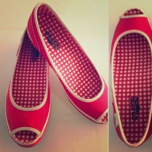 Simple Shoes - VTG Simple brand peep toe flat shoes vegan- VLV