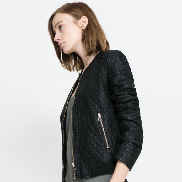 bede0bbe3 Zara quilted faux leather bomber jacket