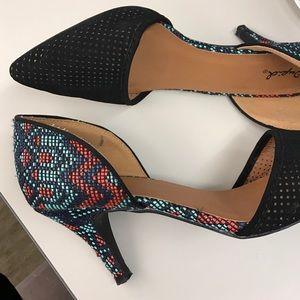 Tribal Print Perforated Heels