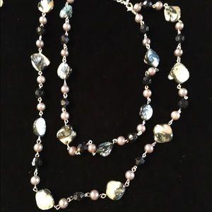"Jewelry - 24"" multi strand abalone fashion necklace"