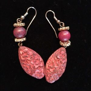 $5 earrings sale pretty carved pink