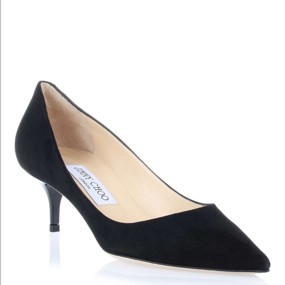 fc182a27da8 Jimmy Choo Shoes - Jimmy Choo Aza Low Heel Black Suede Pumps