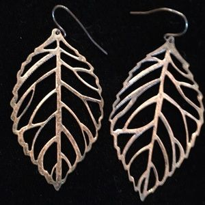 "$5 earrings sale, 2"" bronze leaves"
