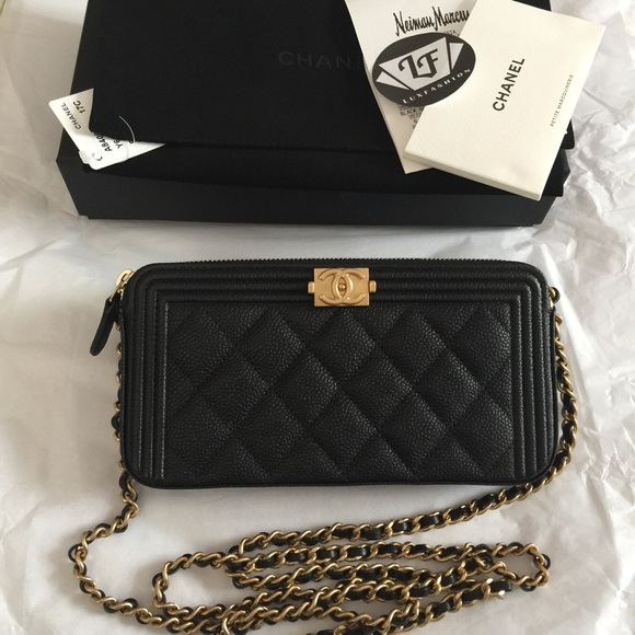 ab9e055a9b55 CHANEL - Chanel Boy Double Zip Wallet on Chain Black Caviar from  Luxfashion'