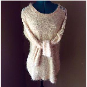ryu Sweaters - ryu Furry Cream Lace Sweater