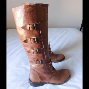 Matisse Shoes - Real Leather Brown Buckled High Boots W/Zipper