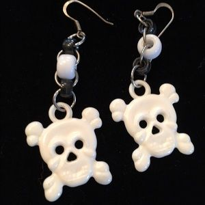 Huge roller derby skull earrings lightweight