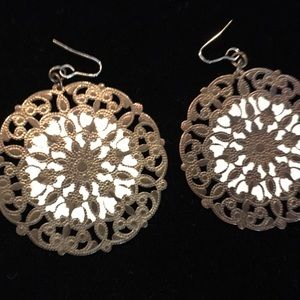 Huge vintage enamel and bronze medallion earrings