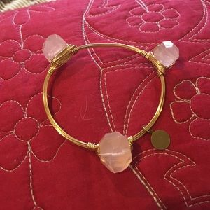 Jewelry - Rose Quartz Nugget on Gold Wire Bangle