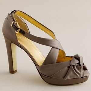 JCrew love-me-knot satin platform pumps