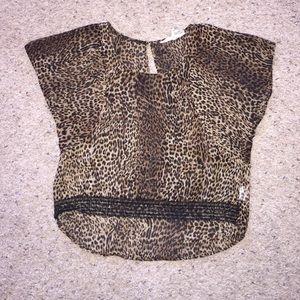 Black Poppy Tops - Cheetah & Black Lace Sheer Top