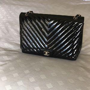 CHANEL Handbags - Brand new Chanel glossy chevron jumbo flapbag