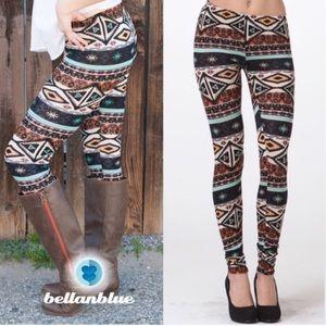SHAWNA tribal print leggings - BROWN mix
