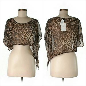 LF Tops - NWT LF Animal Print Leopard Crop Top Blouse