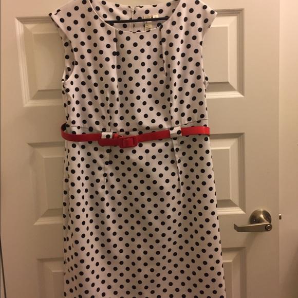 Polka Dot Dress with Red Belt