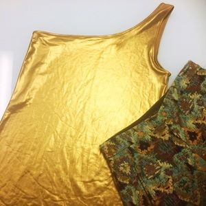 Topshop Liquid Gold One-Shoulder Tunic/Mini Dress