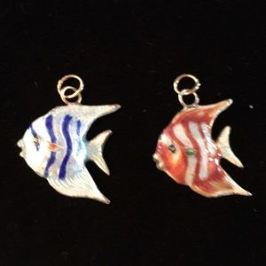 Two angelfish pendants