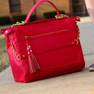 Olivia + Joy Handbags - Magenta purse with tassels