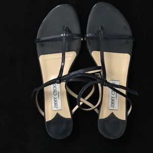 Jimmy Choo patient leather navy sandals