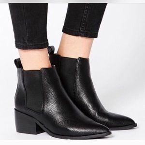 ASOS Black Pointed Leather Bootie