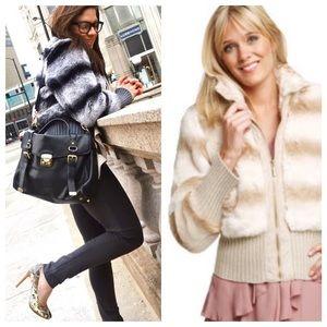 Rachel Zoe Chinchilla Faux Fur Bomber Jacket Coat