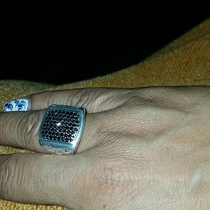 Men/'s Black Sapphire And Sterling MGW Silver Ring