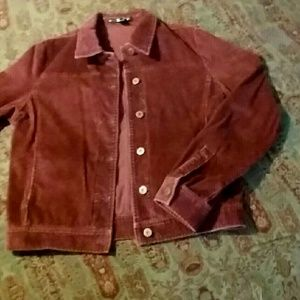 DKNY Corduroy Jean button-up jacket Burgundy 10