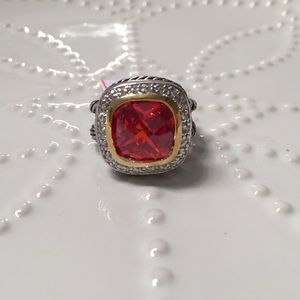Two Tone Garnet/Ruby Cable Ring - 7200 for sale