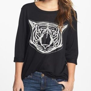 bobeau Sweaters - Bobeau Tiger Embroidered High/Low Top