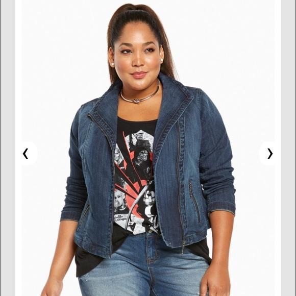 423302a6b35 HP🎉🆕 Plus Size Torrid Denim Moto Zip Jean Jacket