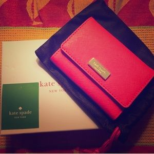 Kate Spade red leather card case