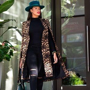 Lavish Alice Leopard Print Cape Coat