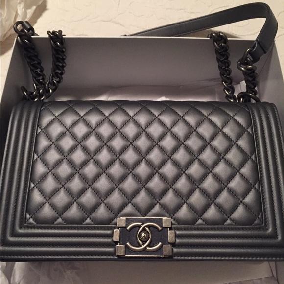 f94f952fef2e CHANEL Handbags - Chanel Metallic Calkskin Quilted Medium Boy Bag
