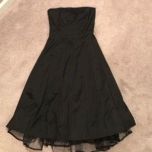 Black strapless silk dress